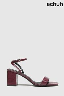 Schuh Burgundy Sienna Block Heel Sandals