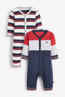 2 Pack Stripe Footless Sleepsuits (0mths-2yrs)