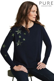 Pure Collection Blue Relaxed Split Hem Sweater