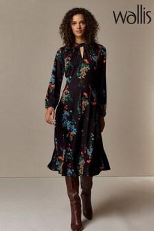 Wallis Black Floral Print Jersey Midi Dress