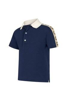 GUCCI Kids Baby Boys Navy Piquet Trim Logo Polo Top
