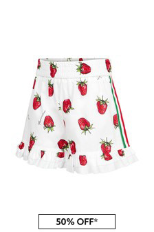 Monnalisa Girls White Cotton Shorts