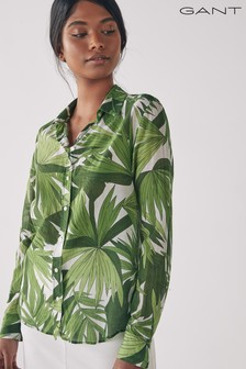 GANT Foliage Green Palm Breeze Cotton Silk Shirt