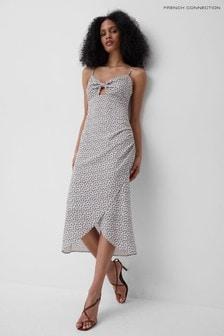 French Connection White Aura Ditsy Tie Midi Dress