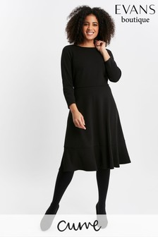 Evans Curve Black Frill Hem Dress