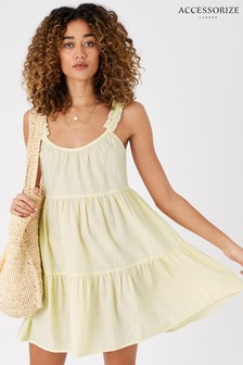 Accessorize Yellow Gingham Mini Dress In Organic Cotton