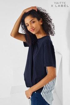 Mix/Yaitte Stripe Woven Back T-Shirt