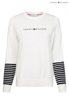 Tommy Hilfiger White Essential Sleeve Branded Sweater