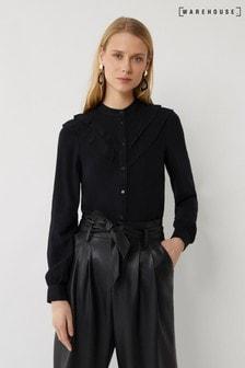 Warehouse Black Double Ruffle Shirt
