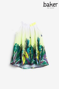 Baker by Ted Baker Pleated Tropical Print Dress