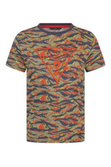 Boys Mystic Tiger Print Cotton Logo T-Shirt