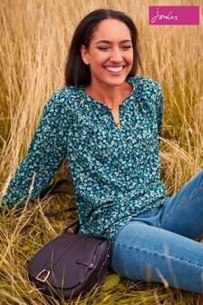 Joules Blue Odette Long Sleeve Raglan Pop Over Shirt