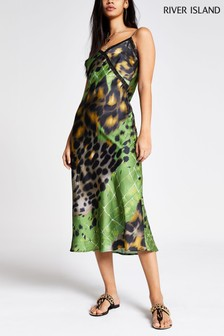 River Island Green Print Lexi Midi Slip Dress