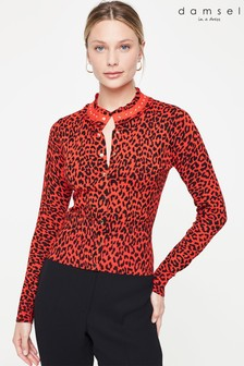 Damsel In A Dress Red Armelle Animal Knit Cardigan