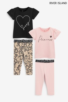 River Island Pink 2 Pack Legging Set