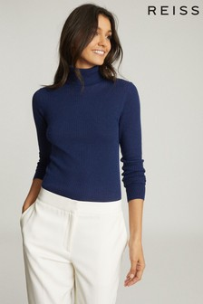 Reiss Blue Sophie Knitted Roll Neck Top