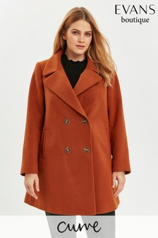 Evans Curve Rust Double Breasted Coat