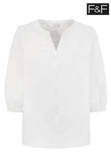 F&F White Textured Isabel Blouse