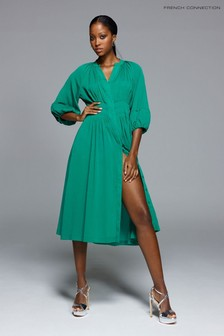 French Connection Green Cora Pleated Dress