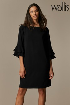 Wallis Black Flute Sleeve Dress