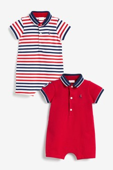 2 Pack Organic Cotton Polo Rompers (0mths-3yrs)