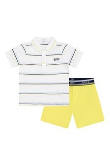 Boss Kidswear Baby Boys White Cotton Set