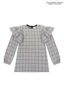 Turtledove London Grey Jaquard Check Frill Sleeve Dress