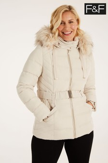 F&F Neutral Short Padded Champagne Coat
