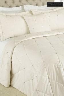Riva Home Diamanté Bedspread and Pillowsham Set