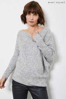 Mint Velvet Grey Asymmetric Fluffy Jumper
