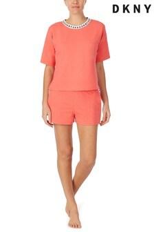 DKNY Orange Short Sleeve Top And Boxers Set