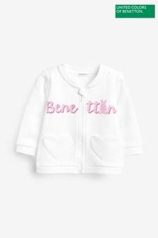 Benetton White Logo Zip Sweater