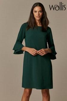 Wallis Green Flute Sleeve Dress