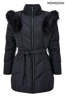 Monsoon Black Saffi Short Padded Coat