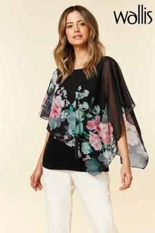Wallis Petite Black Oriental Floral Overlay Top