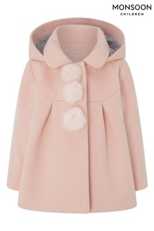 Monsoon Pink Baby Pom Pom Coat With Hood