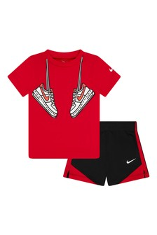 Nike Baby Boys Black And Red T-Shirt And Shorts Set