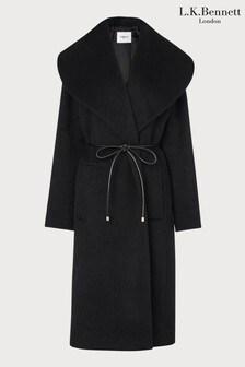 LK Bennett Black Manon Drawn Wool Coat With Leather Tie Belt