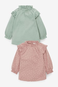 2 Pack Frill Neck Tops (0mths-2yrs)