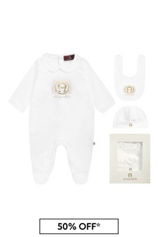 Aigner White Cotton Babygrow