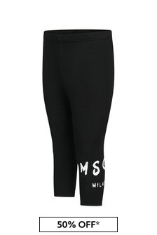 MSGM Baby Girls Black Cotton Leggings