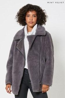 Mint Velvet Grey Teddy Aviator Jacket