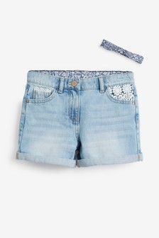 Lace Trim Shorts With Headband (3-16yrs)