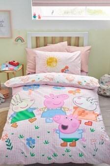 Multi Peppa Pig & Friends Reversible Duvet Cover and Pillowcase Set
