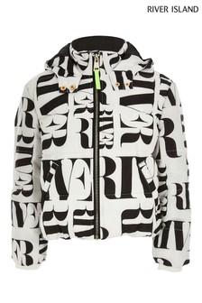 River Island Mono All Over Print Padded Jacket