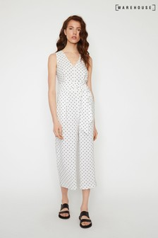 Warehouse Natural Polka Dot Culotte Jumpsuit