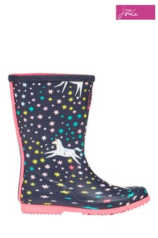 Joules Blue Roll Up Foldable Wellies