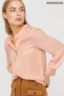 Monsoon Pink Alyssa Zebra Jacquard Blouse