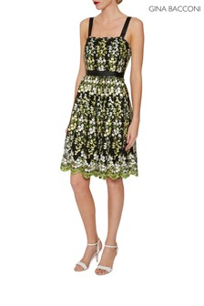 Gina Bacconi Green Eden Embroidered Dress