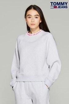 Tommy Jeans Grey Branded Mock Neck Sweatshirt